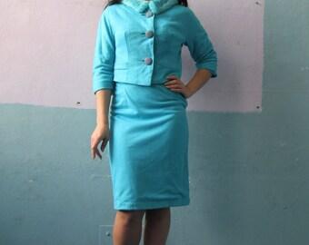 Vtg 40s Baby Blue Skirt Suit Set  / Power Suit