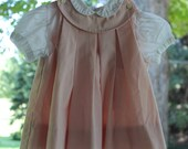 Vintage baby girl pink pleated jumper with white peter pan collar shirt