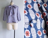 Vintage 80's Cherry Blossom Floral Pussy Bow Blouse S