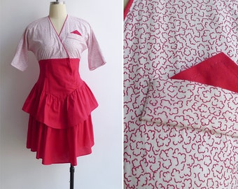 15% SALE (Code In Shop) - Vintage 80's 'Party Like It's 1985' Red Ruffled Dress XXS or XS