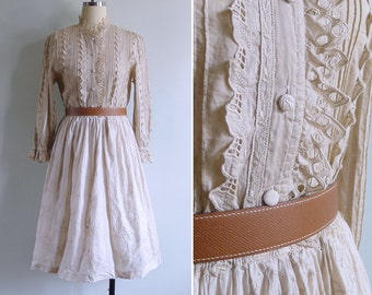 Vintage 80's Edwardian Eyelet Ruffled Collar Cream Cotton Dress S or M