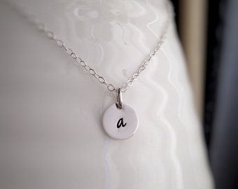 Custom Teeny Initial Necklace - - Personalized Sterling Silver Monogram - - Hand Stamped