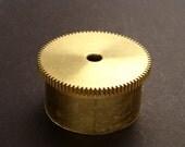 Large Brass Cylinder Gear, Mainspring Barrel from Vintage Clock Movement, Vintage Clockwork Mechanism Parts, Steampunk Art Supplies 03877