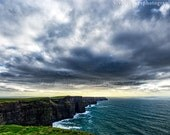 Ireland Photography, Cliffs Of Moher, Landscape Photo, Seascape, Ocean Photograph, Dramatic Landscape, Fine Art Print, Stormy Sea Photo