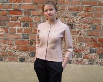 Pink felted wool jacket for Women   felt jacket   powder pink jacket   dusty rose jacket   pink jacket   pink wool jacket   pale pink coat