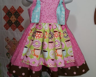 Yummy Donuts Apron Knot Dress 3T