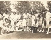 "Vintage Photo ""Serenading the Girl's Camera Club"" Box Camera Accordion Camera Banjo Vintage Snapshot Found Vernacular Photograph"