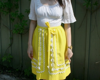 vintage 1960s Summer Peasant Dress Designer Howard Wolf Daisy Chain Boho Country Girl Yellow and White cotton
