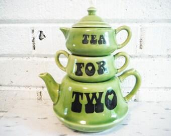 1960's Tea for two stacking teapot creamer sugar set stackable pop art retro mod avocado green black groovy decor