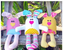 The Carrot Club - Bunny Soft Toys - Printed Pattern