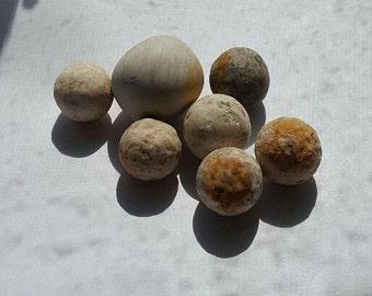 7 Clay Marbles, Vintage --  VP209
