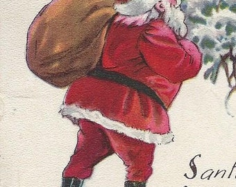 Great Lot of 3 Antique 1910s SANTA CHRISTMAS Postcards - 100+ Year Old - Victorian - Edwardian - PC