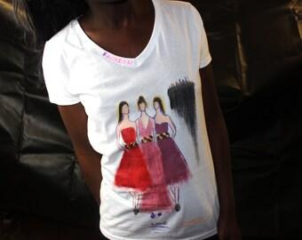 Hand Painted ladies T-shirt Fashion Illustration t-shirt womens t-shirt  HandPrinted short Sleeve, Fashion Illustration, personalised tshirt