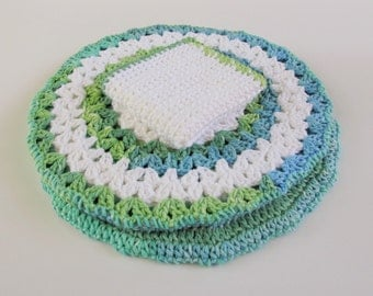 Crochet Kitchen Set, Round Hot Pads, Crochet Dishcloth, Reversible Hot Pads, Cotton Dishcloth