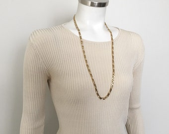 Vintage 1980s Shiny Gold Tone Figaro Chain Necklace Signed Monet 30 Inch