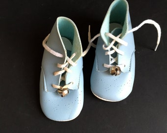 Blue Leather Baby Shoes with Bells