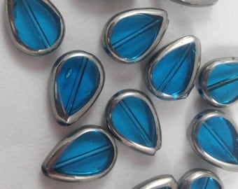 6 Beads -  Blue Teardrop Glass Beads