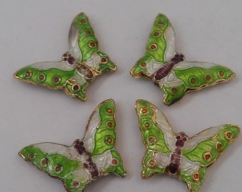 4 Beads - Cloisonne Green and White Detailed Butterfly Beads
