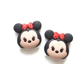 Minnie Mouse Tsum Tsum Stud Earrings, Clip On, Cute Disney Characters, Minnie Mouse, Pooh, Tiger, Dumbo, Marie, Jewelry