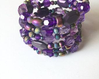 Purple Memory Wire Bracelet, Wraparound, Beaded, Coil, Bracelet and Earring Set, Boho