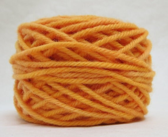 TANGERINE, 100% Wool, 2 Ozs. 43 yards, 4-Ply Bulky or 3 ply Worsted weight yarn, already wound into cakes, ready to use, made to order.