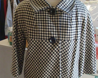 60's HOUNDSTOOTH CHECK JACKET coat black ivory wool S M