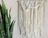 Boho Yarn Wall Hanging / Cream Bohemian Hippie Shabby Chic Wall Decor / Minimal Cottage Chic Decor / OOAK