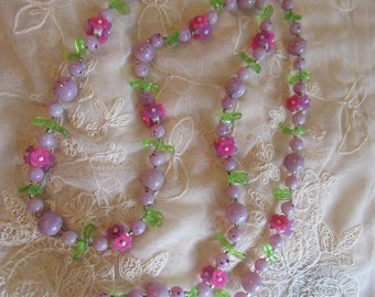1960s Necklace Purple and Pink Flower and Leaves Plastic Beads Love Child Summer Of Love Vintage Costume Jewelry Beads Hippie