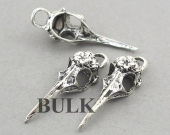 SALE Bird Skull Charms BULK order 3D Antique Silver 15pcs zinc alloy pendant beads 12X40mm CM0750S