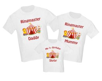 Set of 3 Circus Carnival Birthday Family Shirts Set - ANY AGE