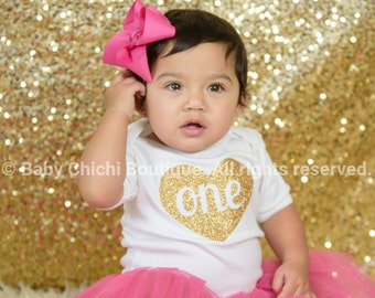 First birthday outfit girl Hot pink and gold birthday One gold glitter heart Birthday gold one First birthday glitter