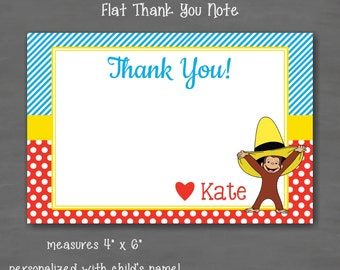 Curious George Birthday Thank You Note--Custom Printable;  Red Blue Yellow Polka Dot Stripe