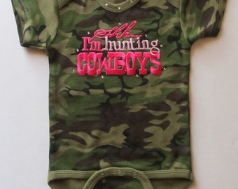 Camo Baby Bodysuit with Hunting Cowboys, baby cowgirl, cowgirl baby girl bodysuit, cowgirl onesie, newborn baby, baby shower gift, cowgirl,
