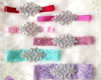 Crystal Rhinestone Sparkling headband. Adult, baby, newborn headband, photography prop. Bridal garter. Planner Band. Red Pink Aqua Violet