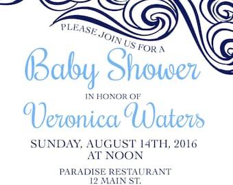 Printable Custom Bridal/Baby Shower Invitation, Ocean Waves, Anchor, Birthday, DIY Wedding, Blue, Sea, Customizable, Digital