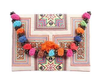 Colorful Pom Pom Clutch With Embroidered Fabric Handmade Thailand (BG306WP-38C10)