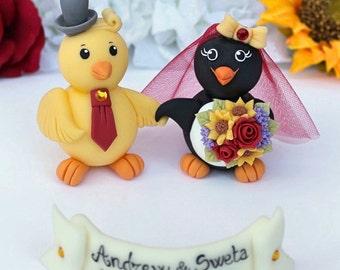 Wedding cake topper, penguin and chick cake topper, holding hands bride and groom, custom cake topper with banner, smiling penguin bride