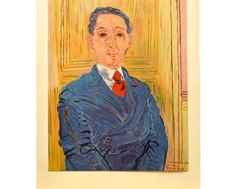 Vintage Color Print of Portrait of M Nico Mazaraki By Raoul Dufy - 1954