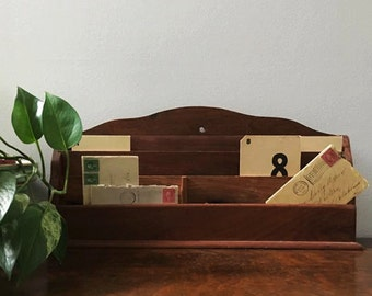 Vintage Office Organizer ~ Wooden Mail and Paper Slot Box for Desk or Wall