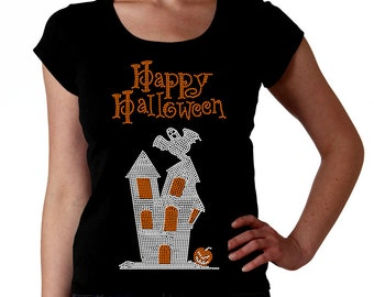 Halloween Haunted House RHINESTONE t-shirt tank top sweatshirt S M L XL 2XL - Ghost Pumpkin