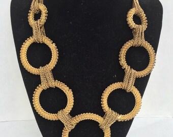 Chunky Mod Circles Gold Muti Chain Necklace