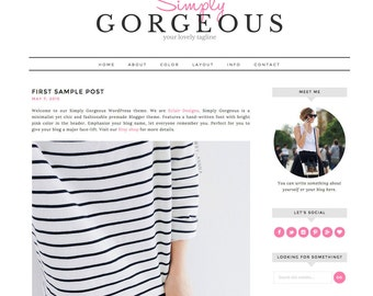 "Wordpress Theme Responsive Blog Design ""Simply Gorgeous"" - Stylish and Clean"