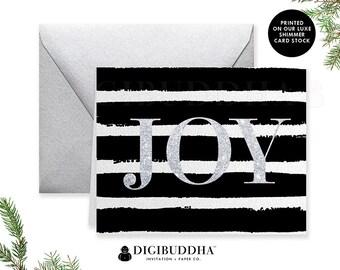 BOXED CHRISTMAS CARD Set Holiday Cards Greeting Cards Joy Card Set Boxed Holiday Shimmer Christmas Card Box Set & Silver Envelopes - Eaton