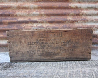 Rare Antique Wood Crate Western Cartridge Company Blasting Caps Box Explosives Coal Mines Mining Wooden Crate Wood Box  Crate Dangerous