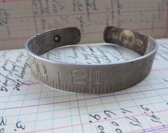 Antique Metal Folding Ruler Bracelet Aluminum Metal Made in USA Bangle Oversized Cuff Jewelry Industrial Bracelet Steampunk Vintage