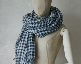 BLUE & WHITE GINGHAM linen scarf / soft fringe