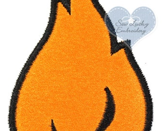 Flame Applique Embroidered Patch , Sew or Iron on