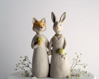 fox and rabbit wedding cake topper -animal topper - bride and bride - wife and wife