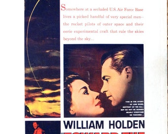 "Toward the Unknown. 1956 Original 14""x22"" US Movie Poster. Sci-fi Space Travel Movie with William Holden,Lloyd Nolan,James Garner,L.Q. Jones"
