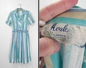 60s Striped Dress Avalon Classics Olive Mint Green Sky Blue Medium